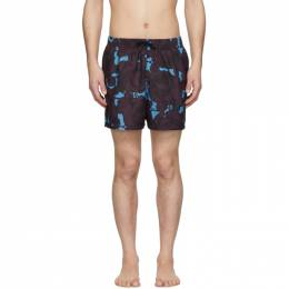 Dries Van Noten Blue and Purple Phibbs Floral Swim Shorts 22500-9233-504