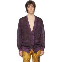 Dries Van Noten Purple Jaxson Metallic Cardigan 21253-9700-304