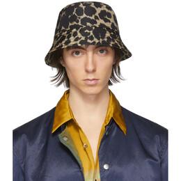 Dries Van Noten Black and Beige Leopard Gillian Bucket Hat 29501-9087-977