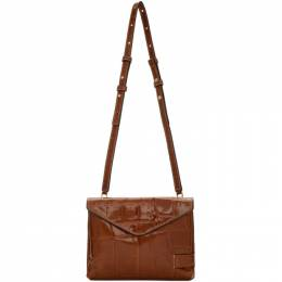 Staud Brown Croc Holly Convertible Bag 180-9207-AUBR