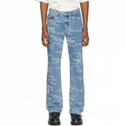 We11Done Blue All Over Logo Jeans WD-DP6-20-038-M-BL
