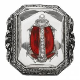 Alexander McQueen Silver Beetle Resin Ring 611306I12RY
