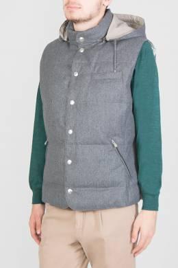 Серый жилет с капюшоном Brunello Cucinelli 1675183671