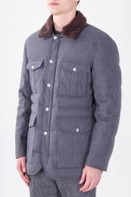 Серая куртка с меховым воротником Brunello Cucinelli 1675183707