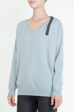 Светло-голубой пуловер Brunello Cucinelli 1675183629