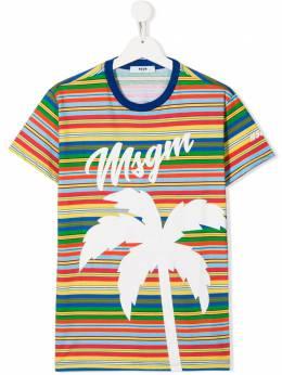 Msgm Kids TEEN striped logo print T-shirt 022437