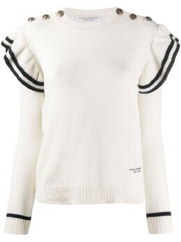 Philosophy Di Lorenzo Serafini striped ruffle sleeve cashmere jumper A09110703