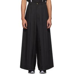 Keenkee Black Pleated Trousers SS20WP06-LP-2
