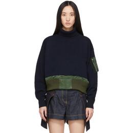 Sacai Navy Knit Crop Crewneck Sweater 20-04859