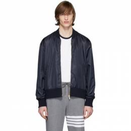 Thom Browne Navy Ripstop Center-Back Stripe Bomber Jacket MJT171A-03215
