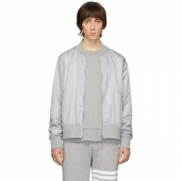 Thom Browne Grey Ripstop Center-Back Stripe Bomber Jacket MJT171A-03215