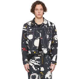 Charles Jeffrey Loverboy Navy Denim Asteroids Print Jacket CJLSS20ADJ