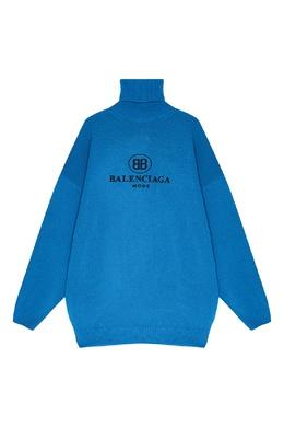 Голубой свитер из шерсти и кашемира Balenciaga 39784784