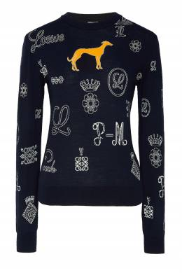 Синий свитер с логотипами Loewe 806111164