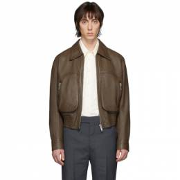 Lemaire Brown Leather Blouson Jacket M 201 LT102 LL134