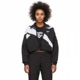 Reebok Classics Black and White Cropped Vector Track Jacket FL9427