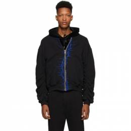 Haider Ackermann SSENSE Exclusive Black and Blue Embroidered Bomber Jacket 203-3842-222-099