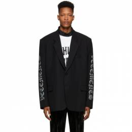 Vetements Black Gothic Logo Tailored Blazer SS20JA143
