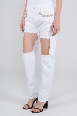 Белые джинсы с вырезами Forte Couture 1528184091