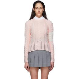 Thom Browne Pink Aran Cable 4-Bar Sweater FKA255A-00219