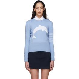 Thom Browne Blue Dolphin Icon 4-Bar Crewneck Sweater FKA260A-06242