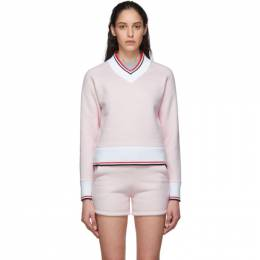 Thom Browne Pink and White University V-Neck Sweater FJT106A-06449