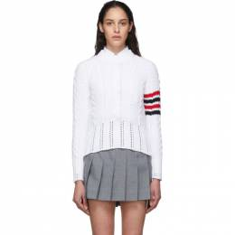 Thom Browne White Aran Cable 4-Bar Crewneck Sweater FKA255A-00219