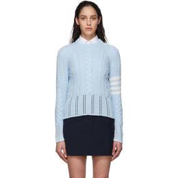 Thom Browne Blue Aran Cable 4-Bar Sweater FKA255A-00219