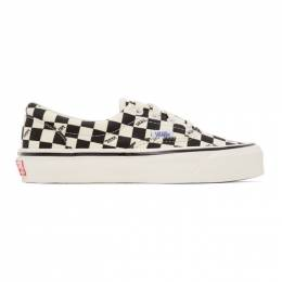 Vans Black and Off-White Checkerboard Logo OG Authentic LX Sneakers VN0A4BVA01Z