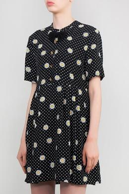 Черное платье с цветочным узором Saint Laurent 1531183538