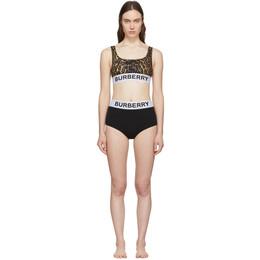 Burberry Black and Brown Leopard Sporty Bikini 8024665