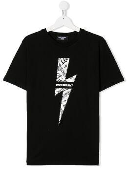 Neil Barrett Kids TEEN thunderbolt T-shirt 024391