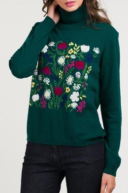 Зеленый свитер с цветочным узором Blugirl 1916184589