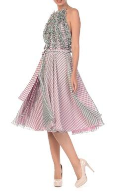 Клетчатое платье миди с рюшами Blumarine 533184578
