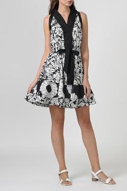 Черное-белое платье мини с цветами Blumarine 533184579