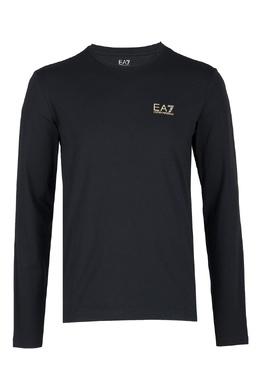 Черный хлопковый лонгслив с логотипом Ea7 2944184691