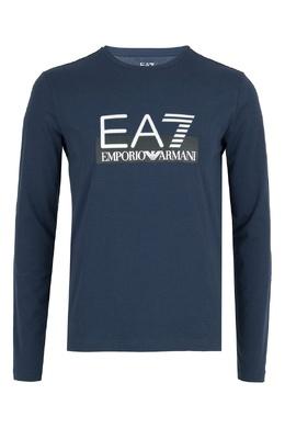 Синий лонгслив с логотипом Ea7 2944184688