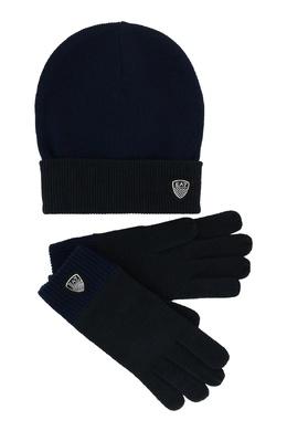 Темно-синий комплект из шапки и перчаток Ea7 2944184722