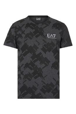 Черная футболка с камуфляжным принтом Ea7 2944184686