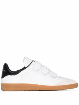 Isabel Marant white velcro strap leather sneakers BK003100M007S