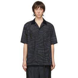 Sacai Black and Grey Zebra Short Sleeve Shirt 20-02256M