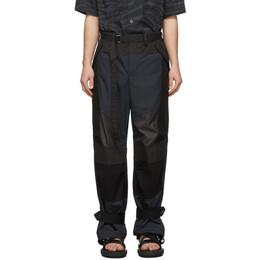 Sacai Black Fabric Combo Pants 20-02219M
