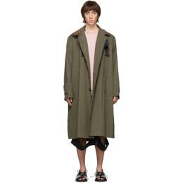 Sacai Khaki Fabric Combo Coat 20-02210M