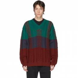 Y / Project Multicolor Braided Knit V-Neck Sweater MPULL49-S18